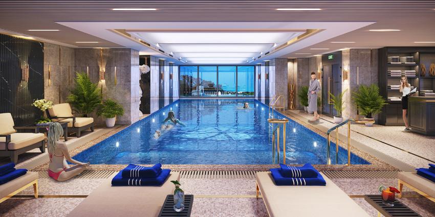 Phối cảnh minh họa bể bơi của dự án The Sapphire Residence